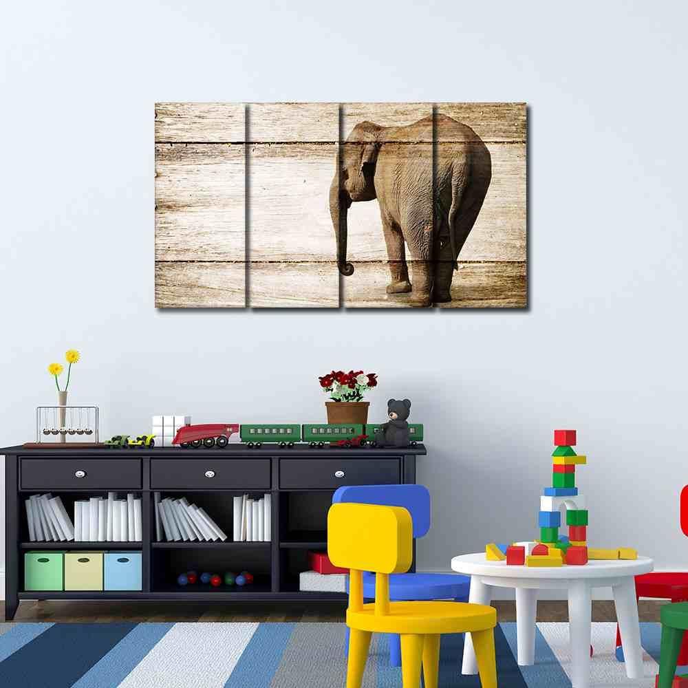 Elephants Collection (Wood-like Artwork) #07