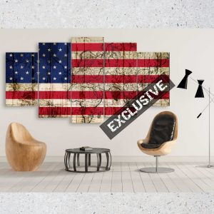 American Grunge Flag Overlay with Old World Map