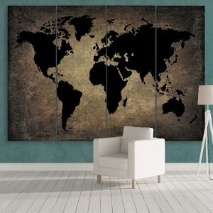 Black World Map On Metal