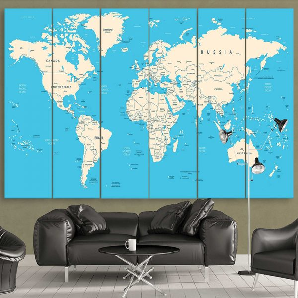 Calm Blue World Map