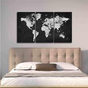 Charcoal and Silver World Map