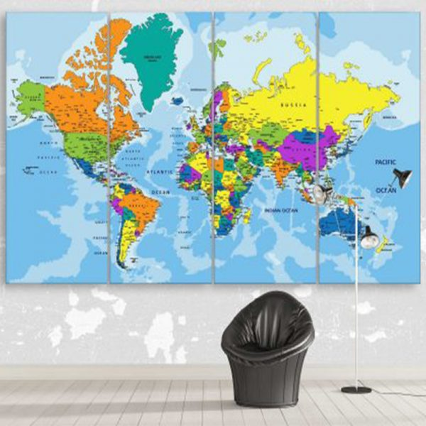COLORFUL POLITICAL WORLD MAP 2