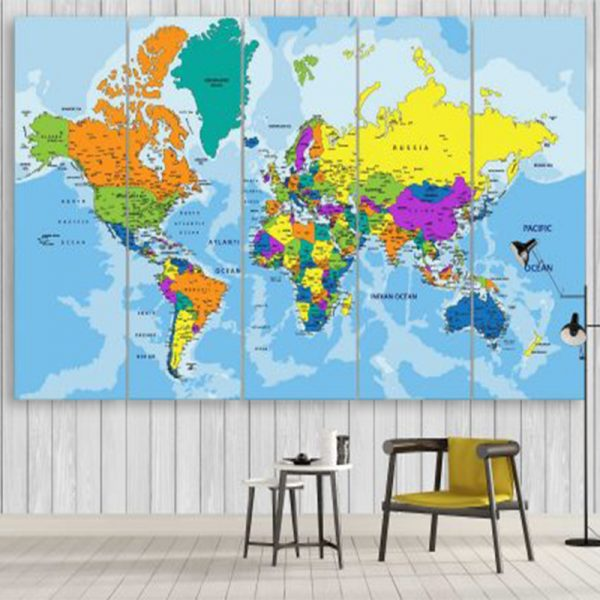 COLORFUL POLITICAL WORLD MAP 3