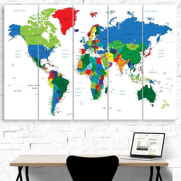 COLORFUL TRAVEL WORLD MAP IN WHITE 2