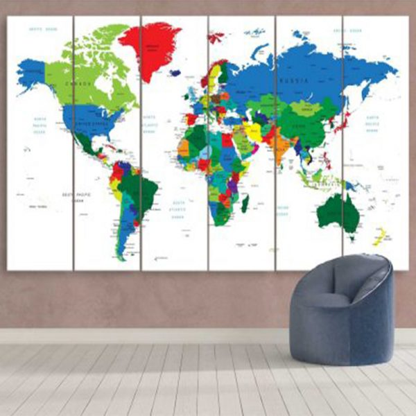 COLORFUL TRAVEL WORLD MAP IN WHITE 3