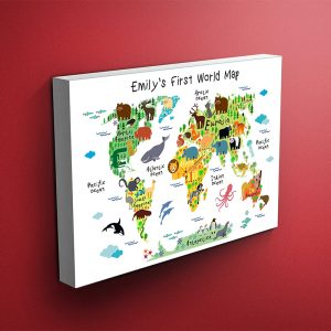 Custom Nursery Animals World Map Canvas (White Background)