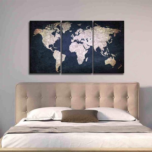 Navy Blue and Beige World Map Canvas