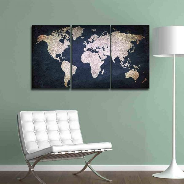 NAVY BLUE AND BEIGE WORLD MAP CANVAS 2