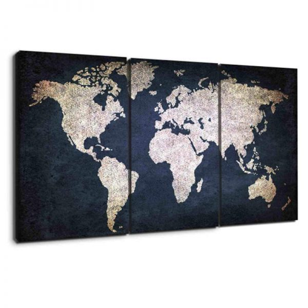 NAVY BLUE AND BEIGE WORLD MAP CANVAS 3
