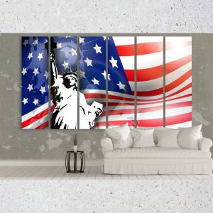 USA Flag and Liberty Statue