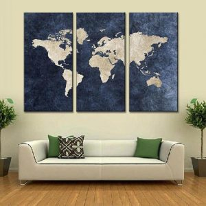 World Map in Navy Blue