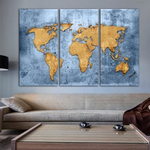 World Map in Polished Blue