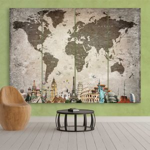 World Map Overlay with Light Tone of City Names
