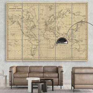 World Map with Magnetic Curves