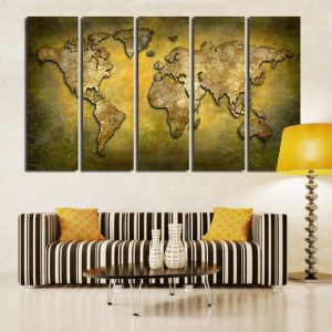 Yellow 3D World Map