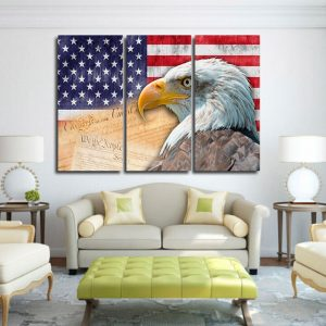 Eagle and American Flag Canvas