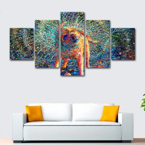 5-Panel-Adorable-Puppy-Painting-Canvas-Wall-Art-Interior