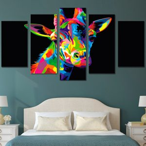 5-Panel-Colorful-Giraffe-Canvas-Wall-Art-interior-1
