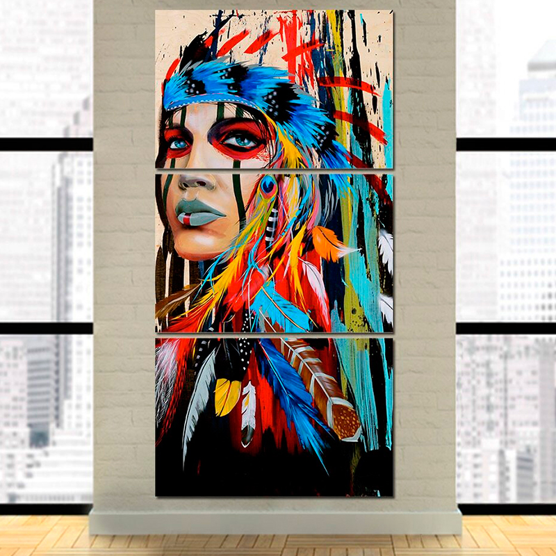 3 Panel Decorative American Indian Large Painting