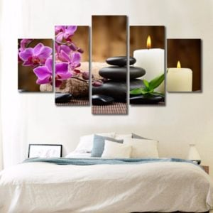 orchid and candle canvas art