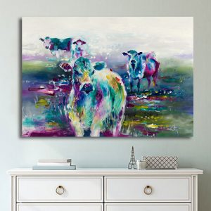 1 Panel Abstract Cow Canvas Prints