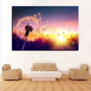 1 Panel Dandelion in Beautiful Sunset
