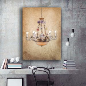 1 Panel Led Retro Chandelier Canvas Art with Flowers