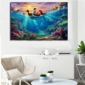 1 Panel Mermaid Falling Wall Art
