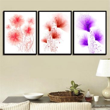 3 Panel Abstract Red Purple and Pink Dandelion