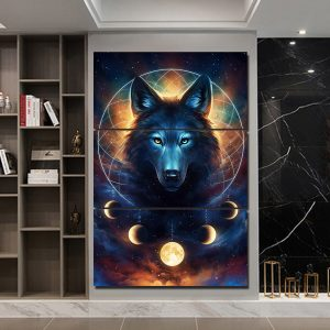 3 Panel Colorful Wolf Dreamcatcher