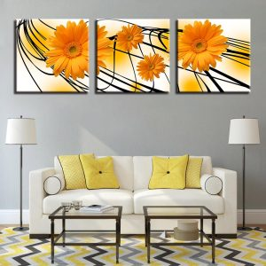 3 Panel Orange Sunflower Canvas Wall Art