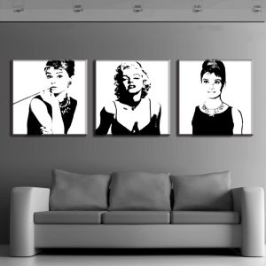 3 Panel Vintage Portrait Marilyn and Audrey