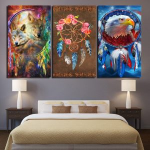 3 Panel Wold and Eagle Colorful Dreamcatcher