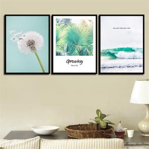 3 Piece Nordic Style Dandelion and Sea Wave