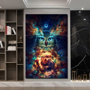 3 Piece Psychedelic Owl Canvas Art
