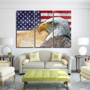 3 Panel Eagle in American Flag