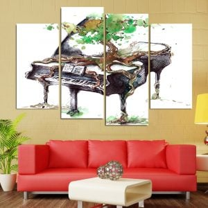 4 Panel Abstract Piano Canvas Art