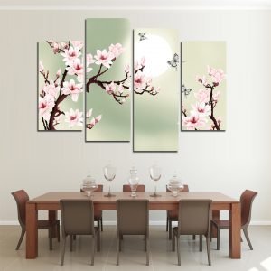 4 Piece Cherry Blossoms Canvas Wall Art