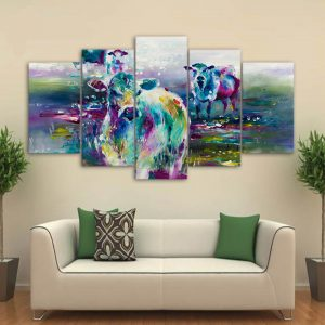 5 Panel Abstract Cow Canvas Prints
