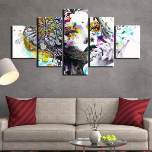 5 Panel Abstract Flower Girl with Sunflower