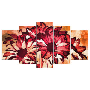 5 Panel Abstract Sunflower