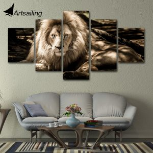 5 Panel Beautiful King Lion