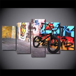 5 Panel Bicycle on Graffiti Wall