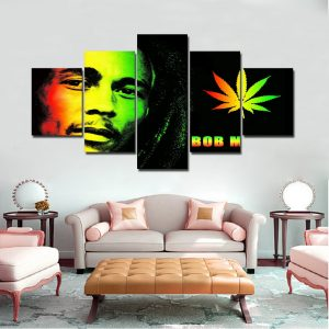 5 Panel Bob Marley Canvas Art