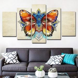 5 Panel Butterfly Eye Wall Art