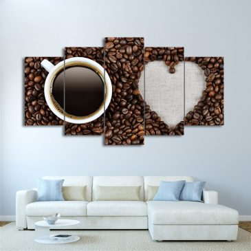 5 Panel Coffee Beans Love