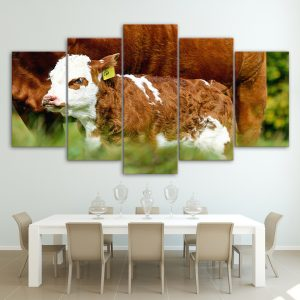 5 Panel Cow & Calf Canvas Prints