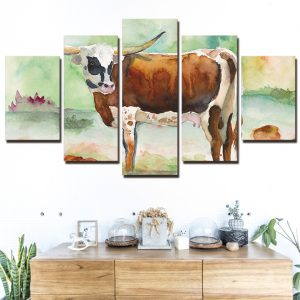 5 Panel Cow in Spring