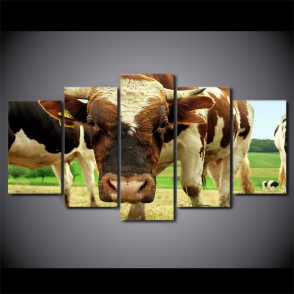5 Panel Cow in the Farm Canvas Prints