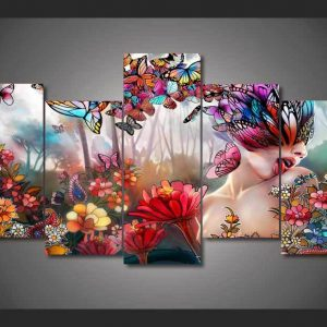 5 Panel Enchanting Butterfly Girl